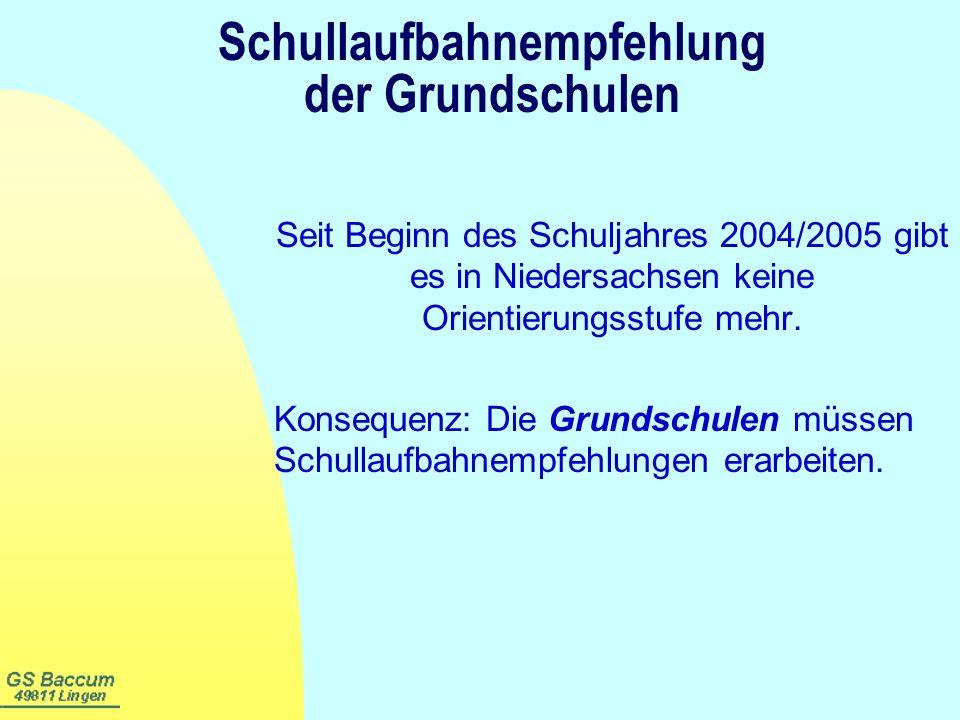 Schullaufbahnempfehlung der Grundschulen