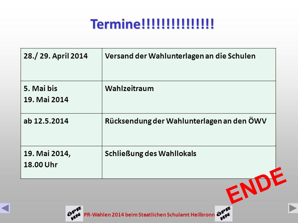Termine!!!!!!!!!!!!!!! 28./ 29. April 2014. Versand der Wahlunterlagen an die Schulen. 5. Mai bis.