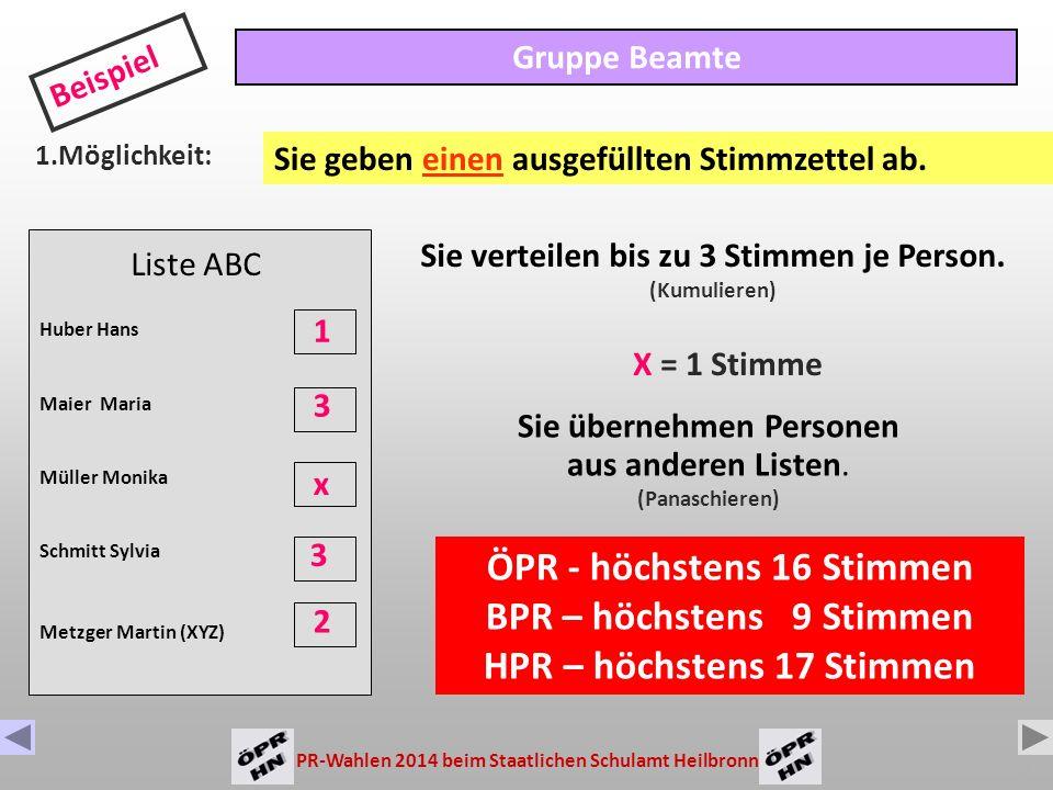 ÖPR - höchstens 16 Stimmen BPR – höchstens 9 Stimmen