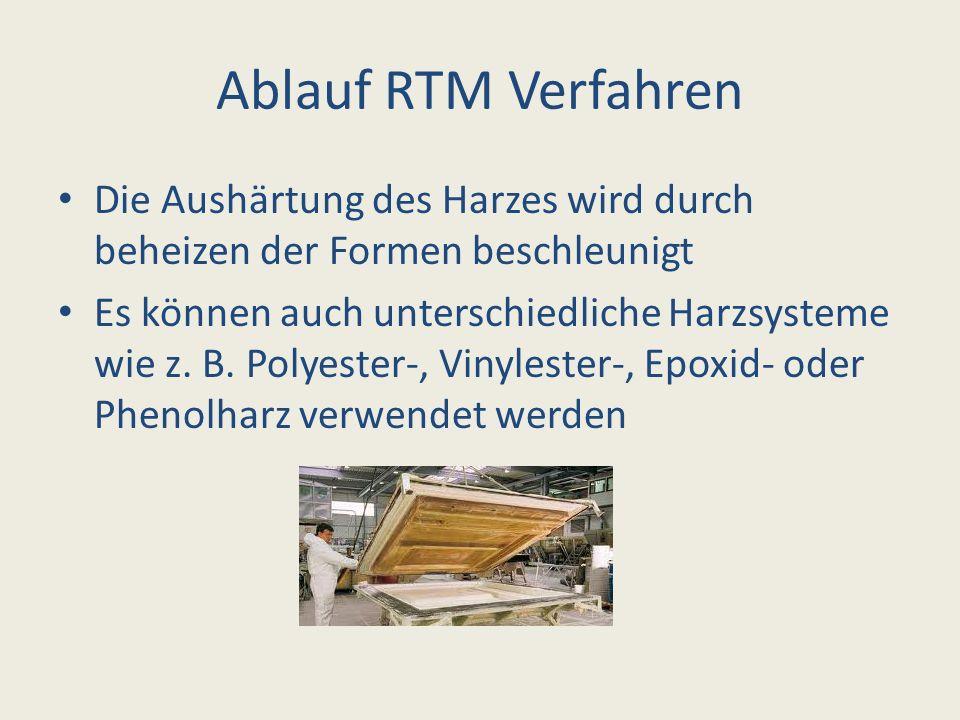 Ablauf RTM Verfahren Die Aushärtung des Harzes wird durch beheizen der Formen beschleunigt.