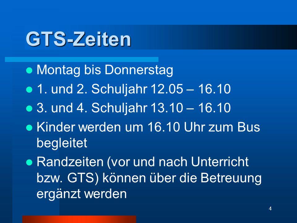 GTS-Zeiten Montag bis Donnerstag 1. und 2. Schuljahr 12.05 – 16.10