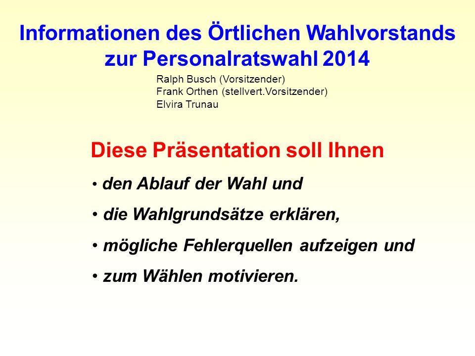 Informationen des Örtlichen Wahlvorstands zur Personalratswahl 2014