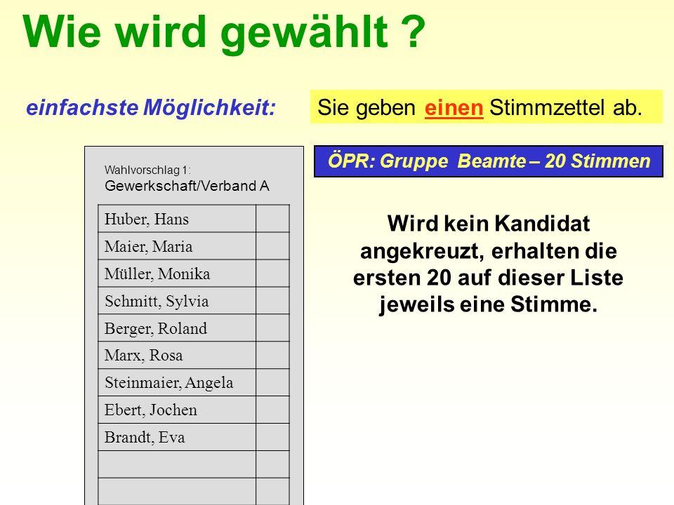 ÖPR: Gruppe Beamte – 20 Stimmen