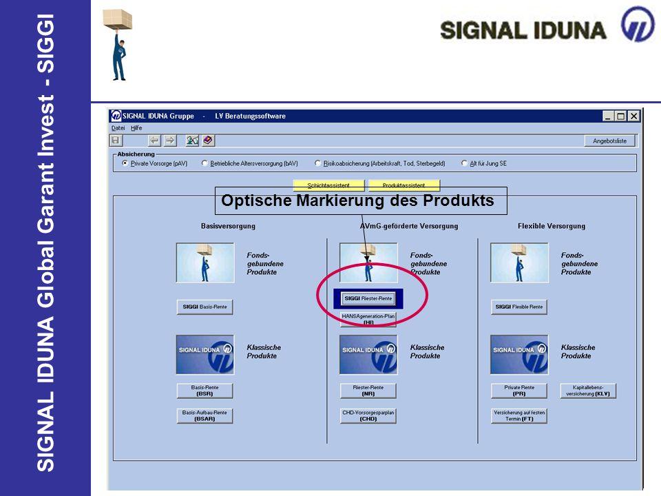 Optische Markierung des Produkts