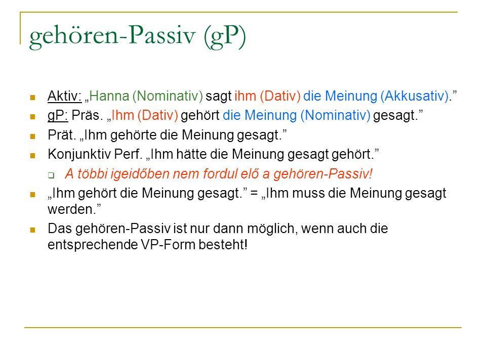 """gehören-Passiv (gP) Aktiv: """"Hanna (Nominativ) sagt ihm (Dativ) die Meinung (Akkusativ)."""