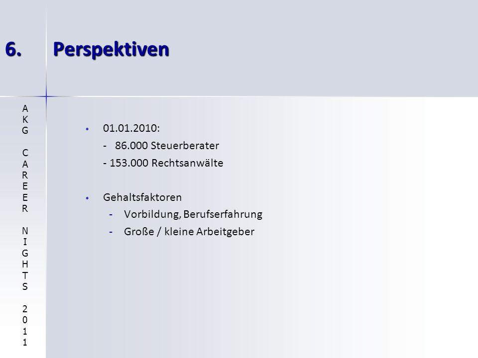 6. Perspektiven 01.01.2010: - 86.000 Steuerberater