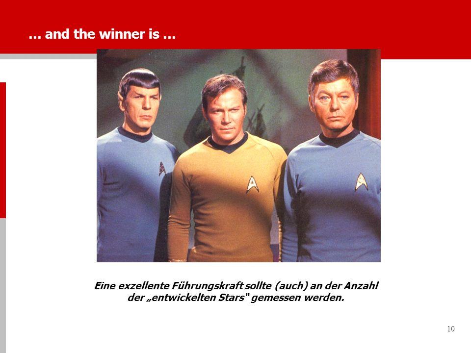 """… and the winner is … Eine exzellente Führungskraft sollte (auch) an der Anzahl der """"entwickelten Stars gemessen werden."""