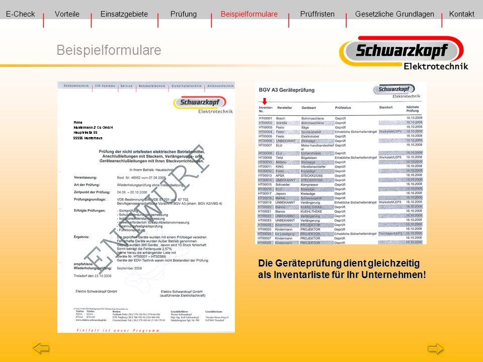 E-Check Vorteile. Einsatzgebiete. Prüfung. Beispielformulare. Prüffristen. Gesetzliche Grundlagen.