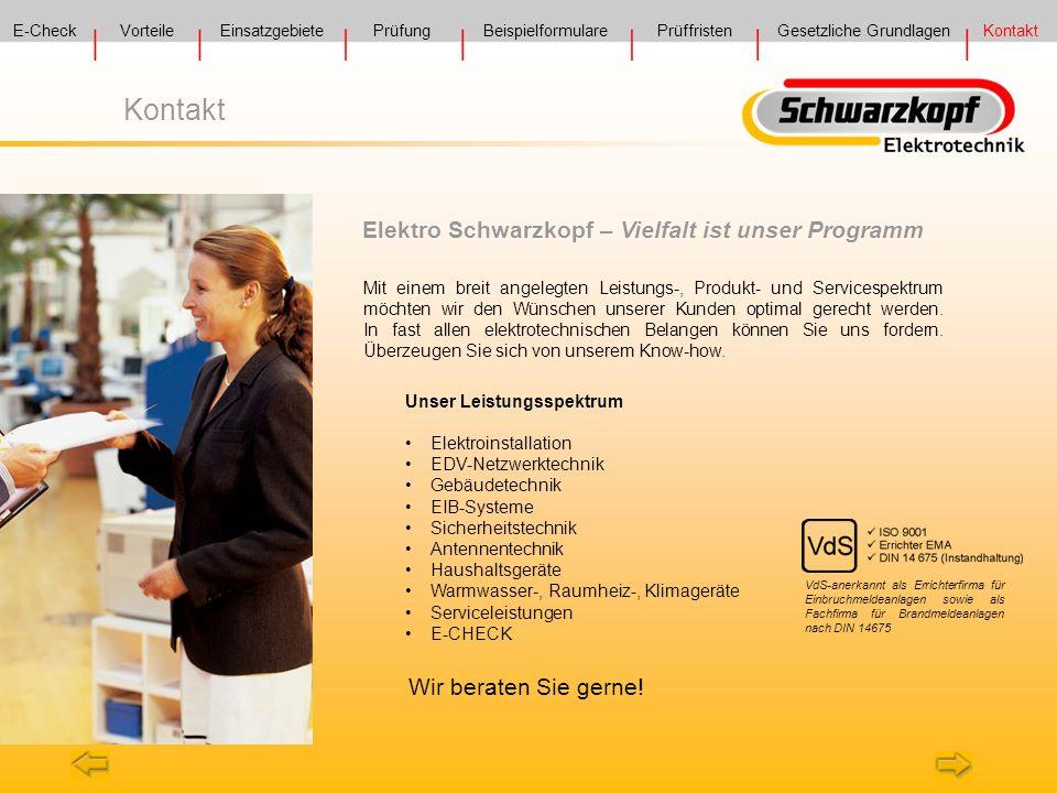 Kontakt Elektro Schwarzkopf – Vielfalt ist unser Programm