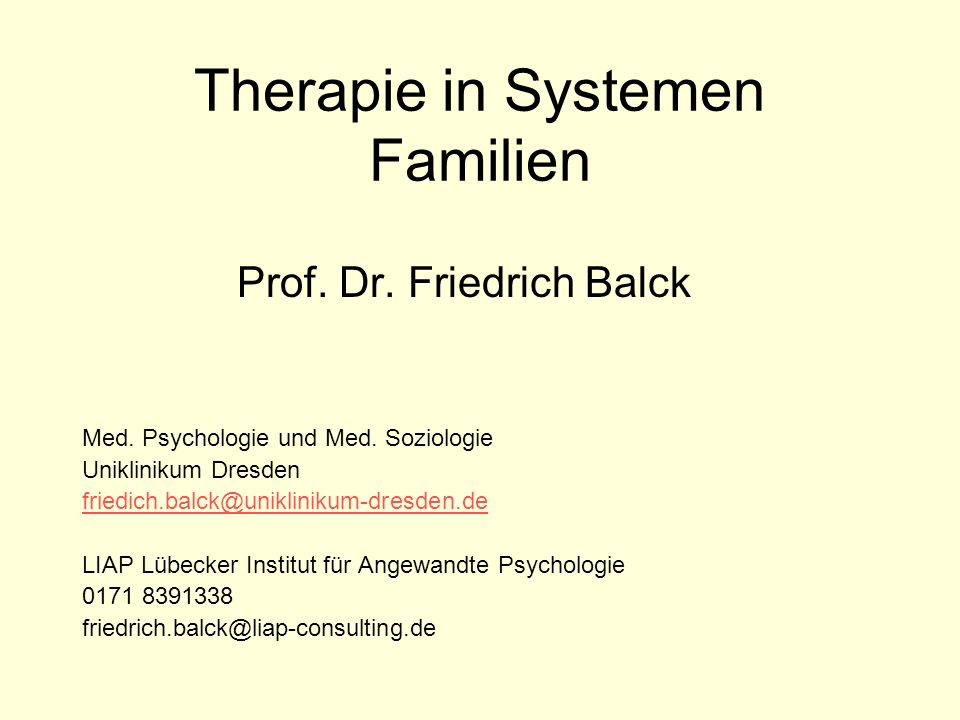 Therapie in Systemen Familien