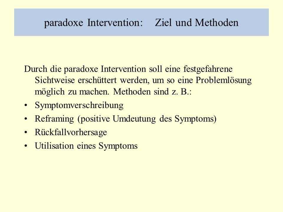 paradoxe Intervention: Ziel und Methoden