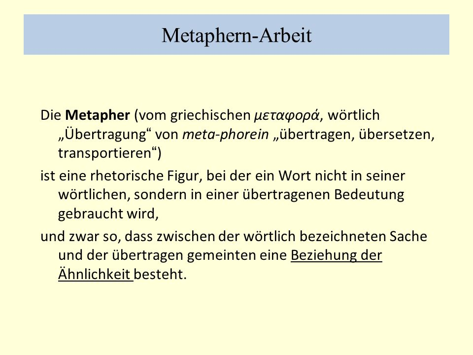 Metaphern-Arbeit