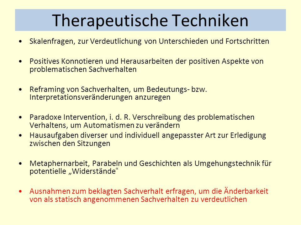 Therapeutische Techniken