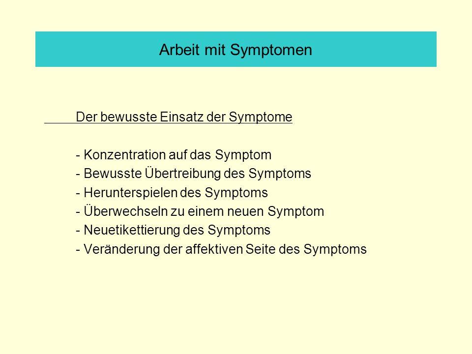 Arbeit mit Symptomen Der bewusste Einsatz der Symptome