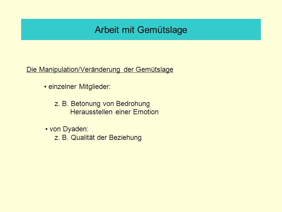 Arbeit mit Gemütslage Die Manipulation/Veränderung der Gemütslage