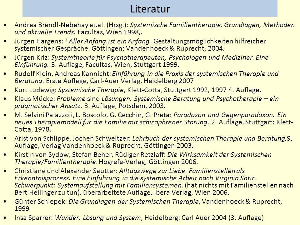 Literatur Andrea Brandl-Nebehay et.al. (Hrsg.): Systemische Familientherapie. Grundlagen, Methoden und aktuelle Trends. Facultas, Wien 1998,.