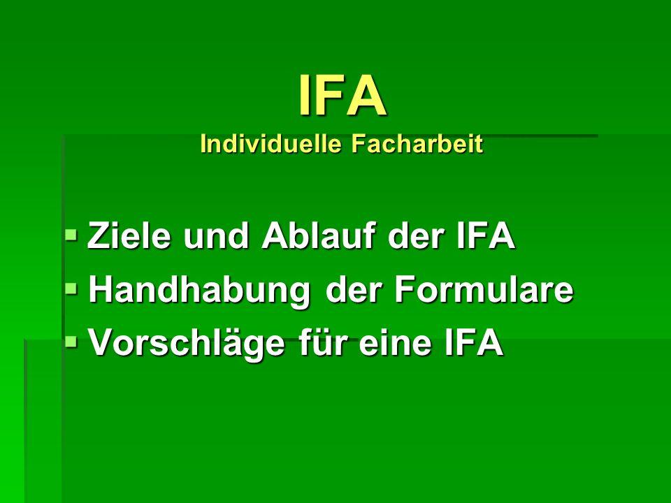 IFA Individuelle Facharbeit