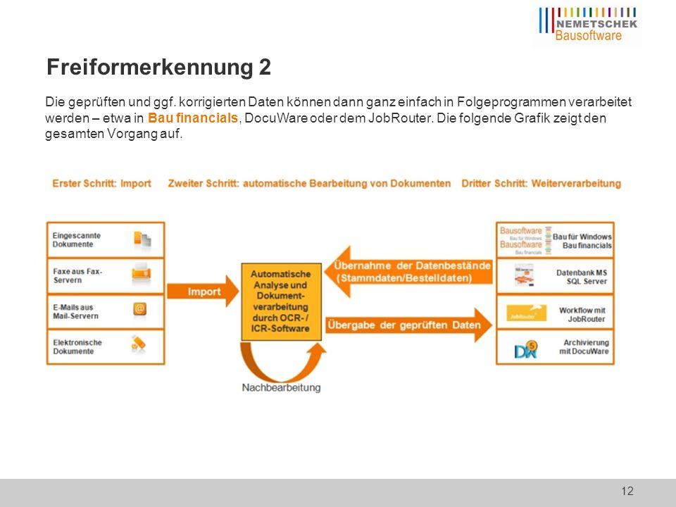 """Freiformerkennung 3 Ein Beispiel für das """"Erkennen von Rechnungsdaten: 13"""
