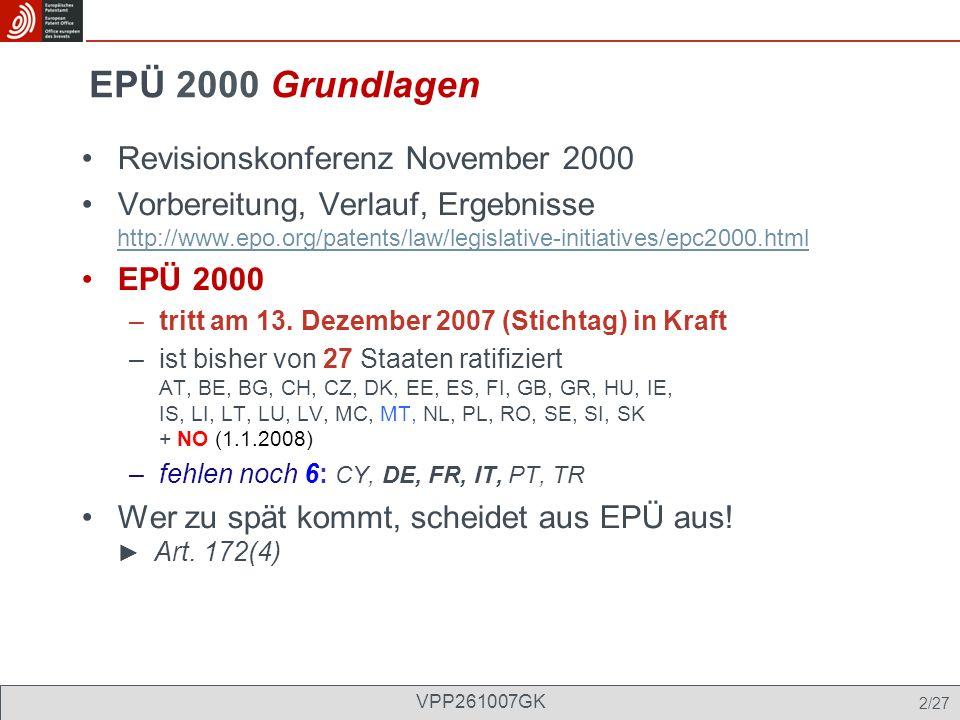 EPÜ 2000 Grundlagen Revisionskonferenz November 2000
