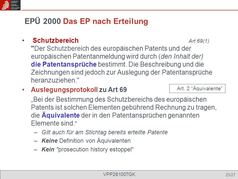 EPÜ 2000 Das EP nach Erteilung