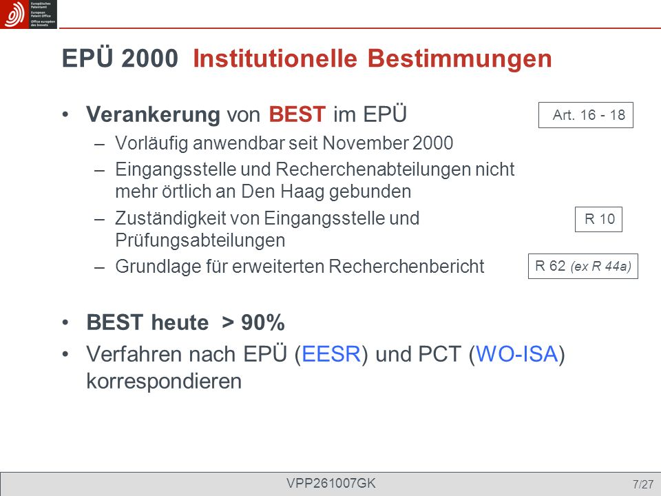 EPÜ 2000 Institutionelle Bestimmungen