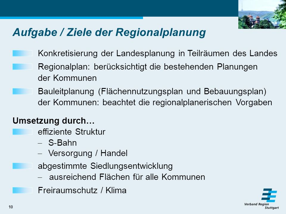 Aufgabe / Ziele der Regionalplanung