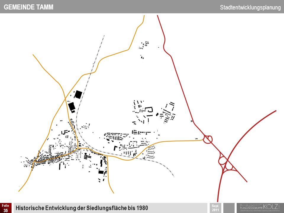 Historische Entwicklung der Siedlungsfläche bis 1980