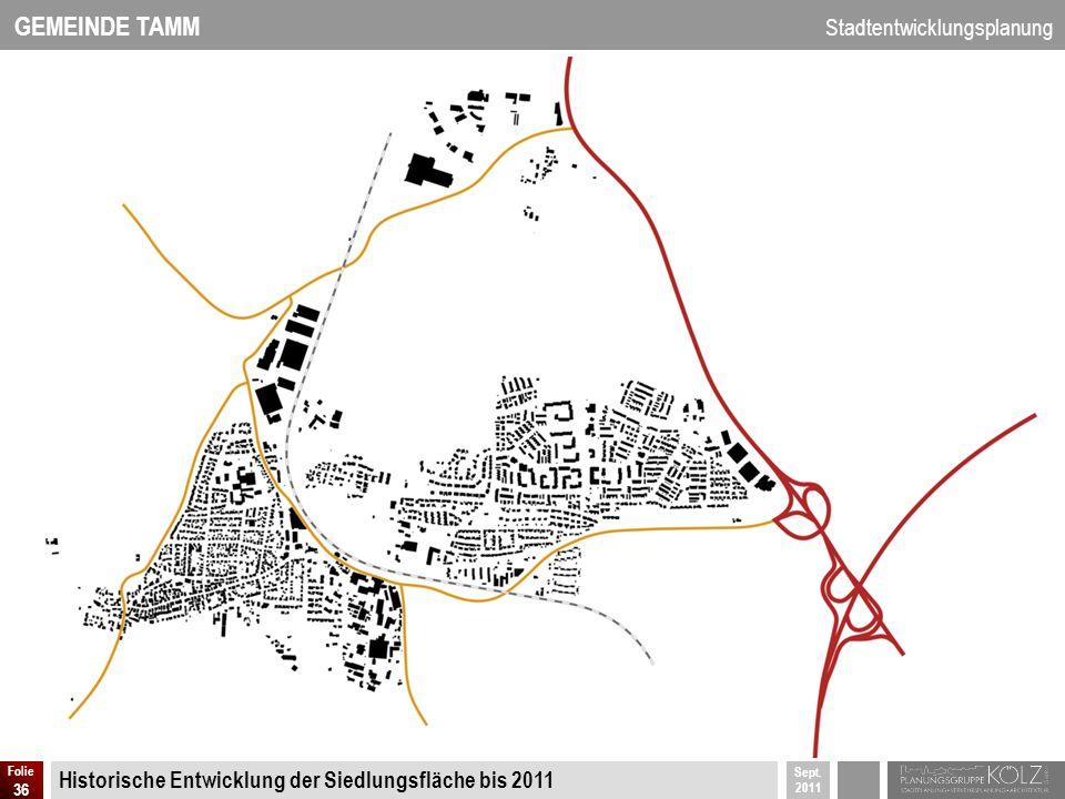 Historische Entwicklung der Siedlungsfläche bis 2011