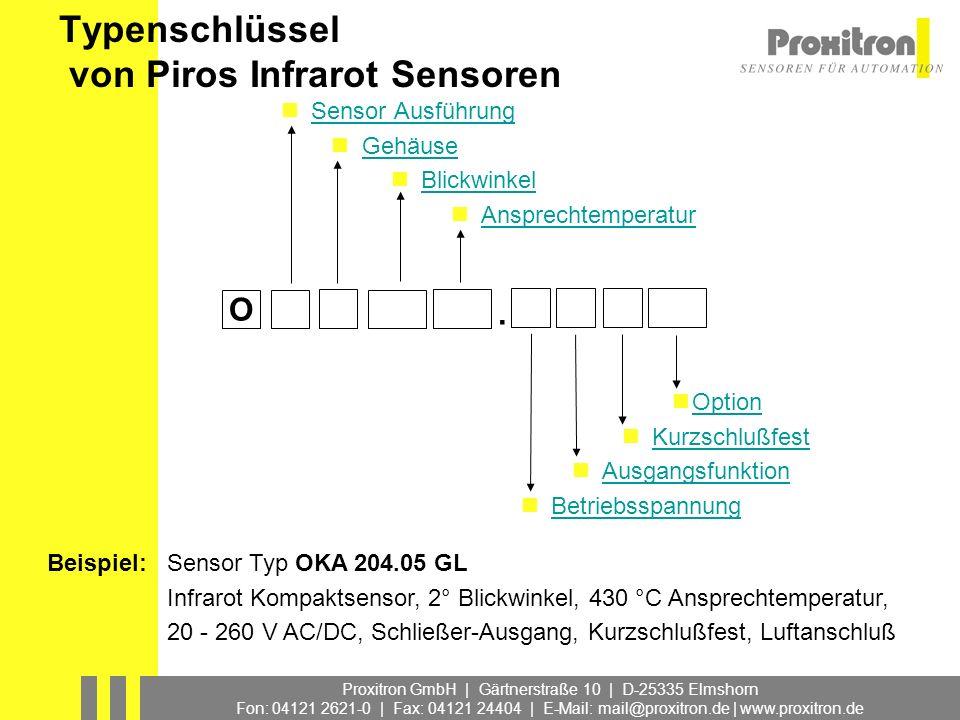 Typenschlüssel von Piros Infrarot Sensoren