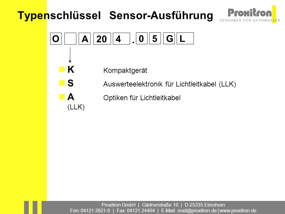 Typenschlüssel Sensor-Ausführung