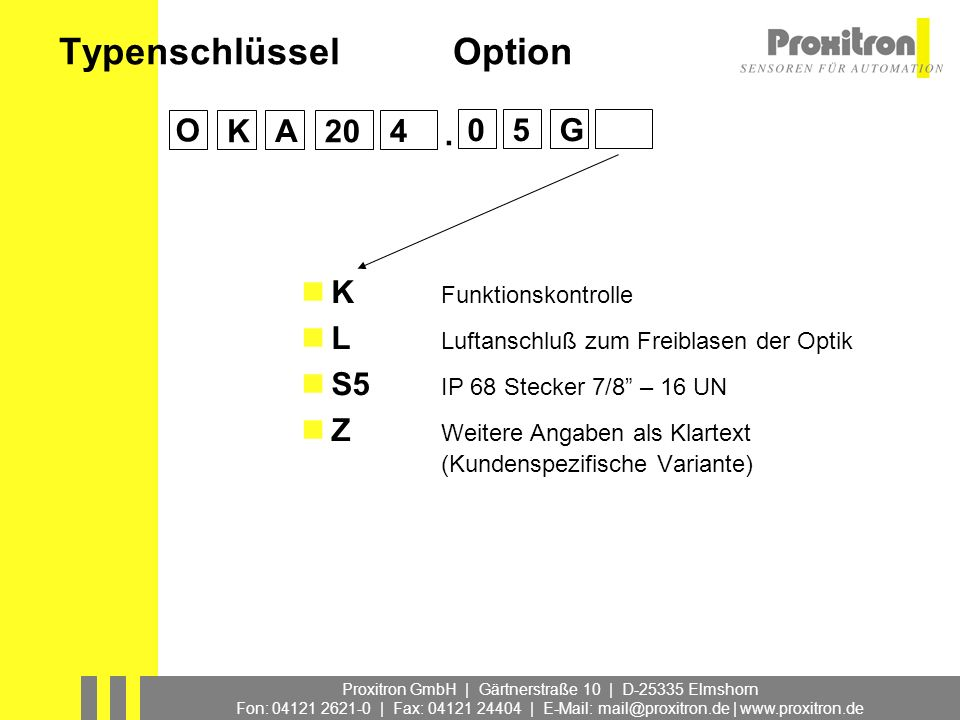 Typenschlüssel Option