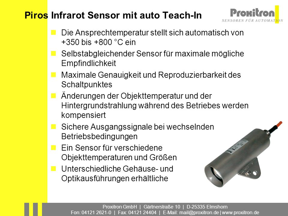 Piros Infrarot Sensor mit auto Teach-In