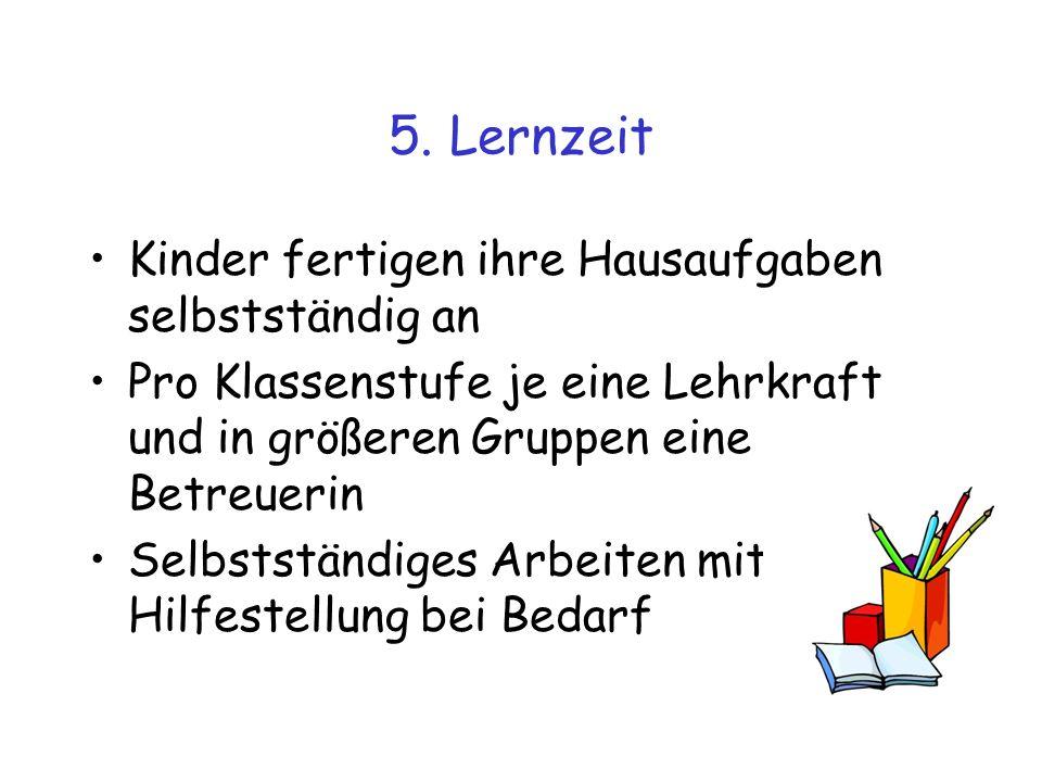 5. Lernzeit Kinder fertigen ihre Hausaufgaben selbstständig an