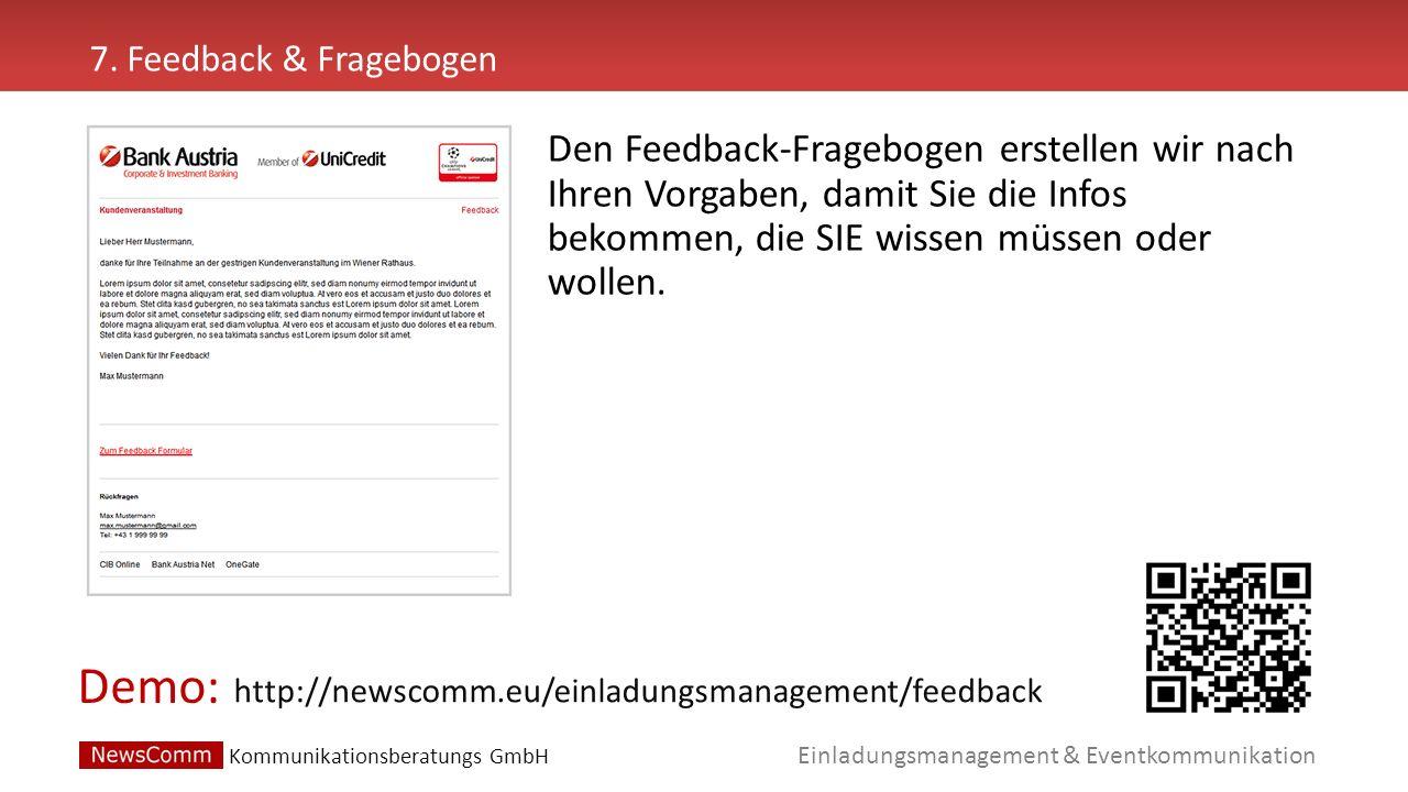 7. Feedback & Fragebogen