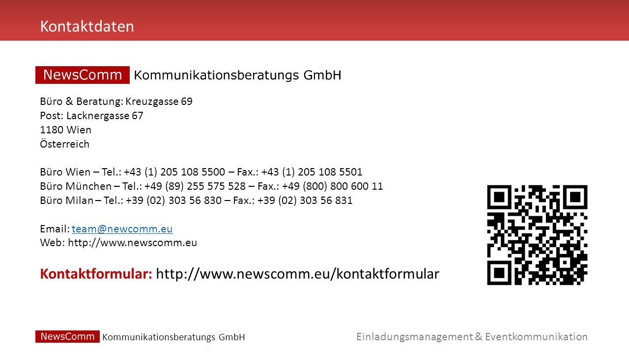 Kontaktdaten Kontaktformular: http://www.newscomm.eu/kontaktformular