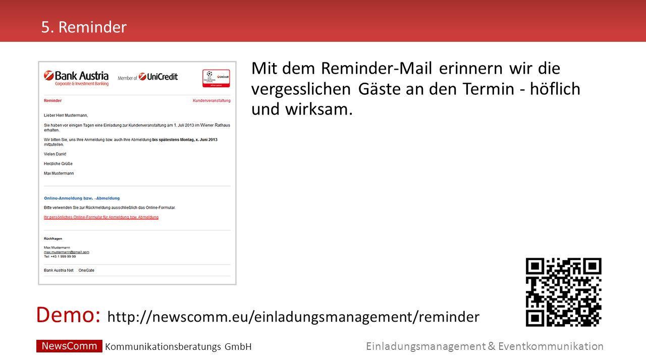 5. Reminder Mit dem Reminder-Mail erinnern wir die vergesslichen Gäste an den Termin - höflich und wirksam.