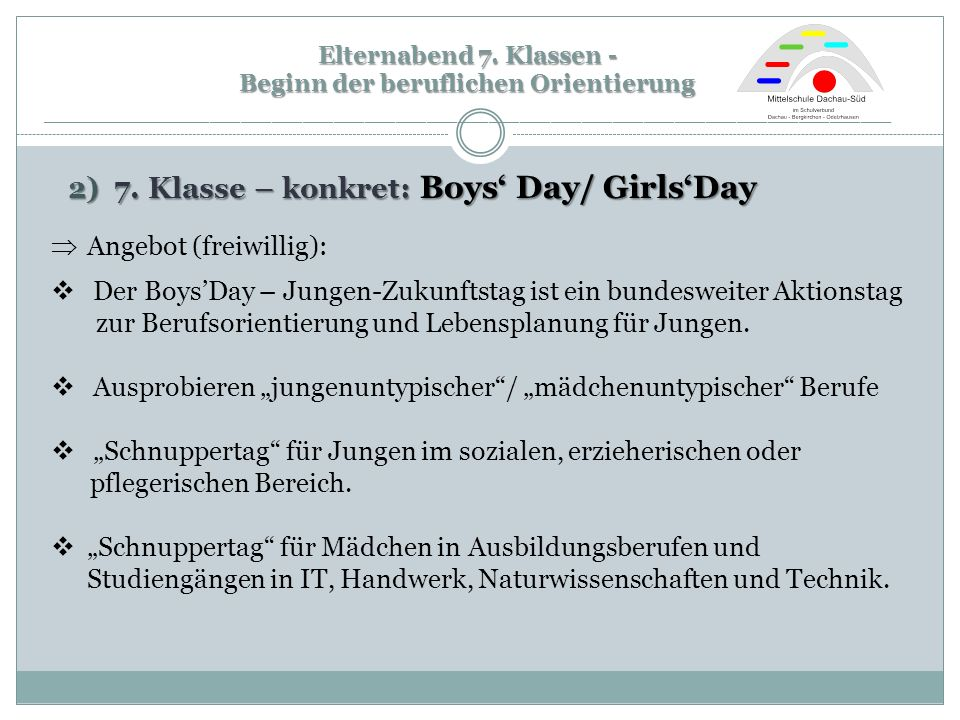 2) 7. Klasse – konkret: Boys' Day/ Girls'Day