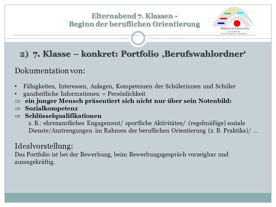 2) 7. Klasse – konkret: Portfolio 'Berufswahlordner'