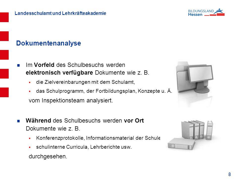 Dokumentenanalyse Im Vorfeld des Schulbesuchs werden elektronisch verfügbare Dokumente wie z. B. die Zielvereinbarungen mit dem Schulamt,