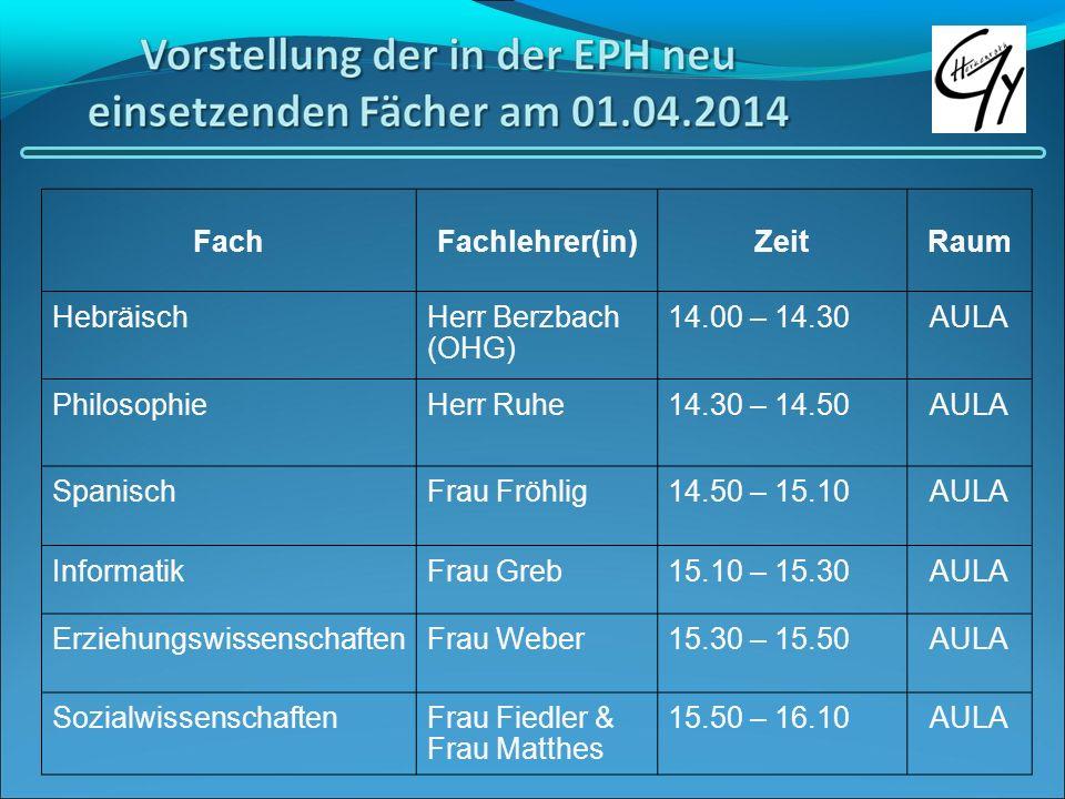 Fach Fachlehrer(in) Zeit. Raum. Hebräisch. Herr Berzbach (OHG) 14.00 – 14.30. AULA. Philosophie.