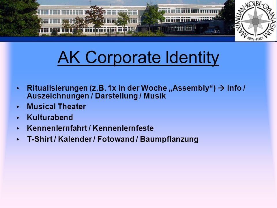 """AK Corporate Identity Ritualisierungen (z.B. 1x in der Woche """"Assembly )  Info / Auszeichnungen / Darstellung / Musik."""