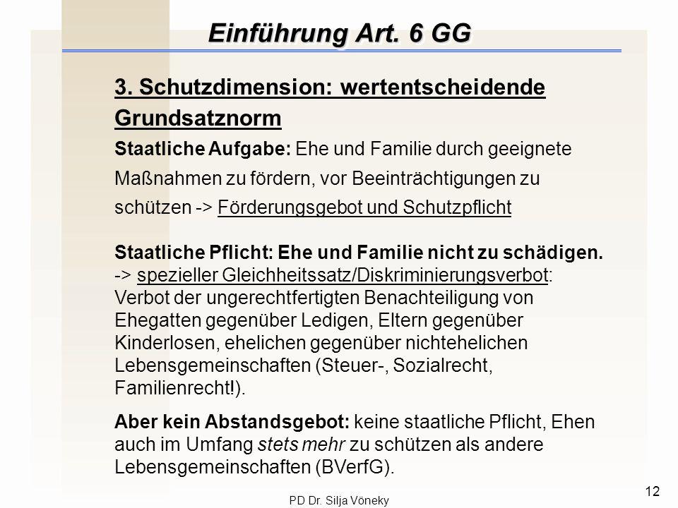 Einführung Art. 6 GG 3. Schutzdimension: wertentscheidende Grundsatznorm.