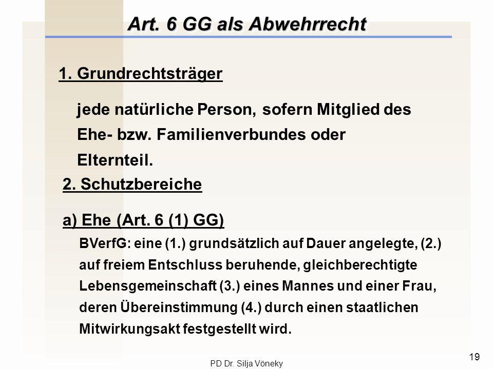 Art. 6 GG als Abwehrrecht 1. Grundrechtsträger
