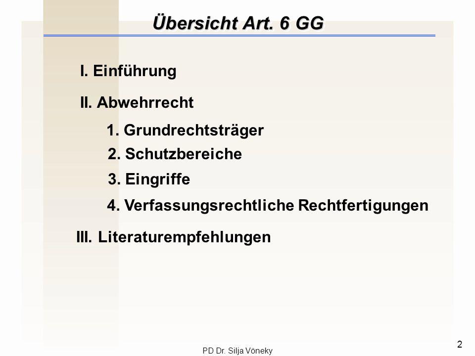 Übersicht Art. 6 GG I. Einführung II. Abwehrrecht 1. Grundrechtsträger
