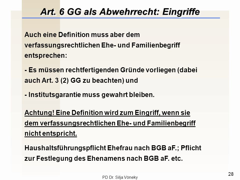 Art. 6 GG als Abwehrrecht: Eingriffe