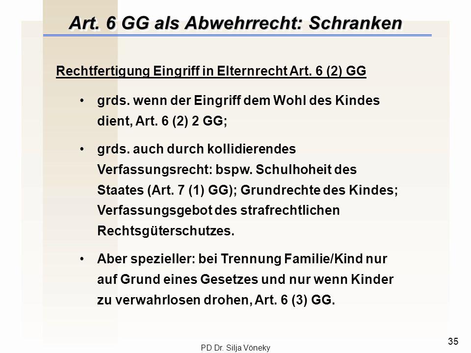 Art. 6 GG als Abwehrrecht: Schranken