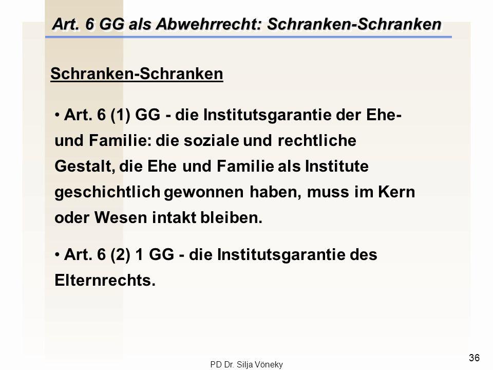 Art. 6 GG als Abwehrrecht: Schranken-Schranken