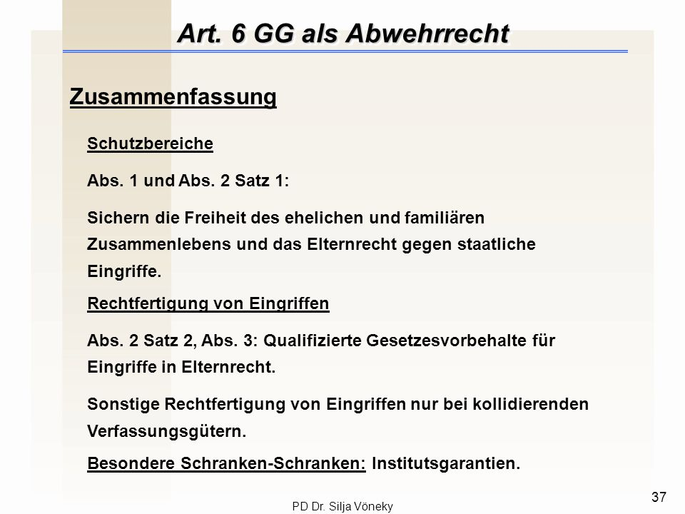 Art. 6 GG als Abwehrrecht Zusammenfassung Schutzbereiche