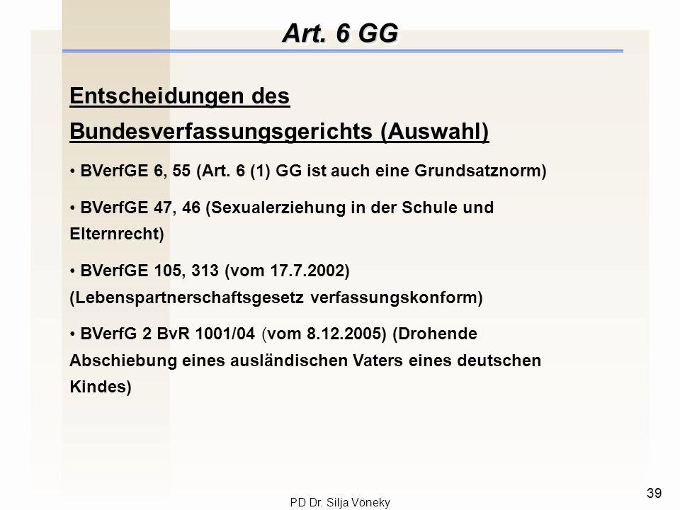 Art. 6 GG Entscheidungen des Bundesverfassungsgerichts (Auswahl)