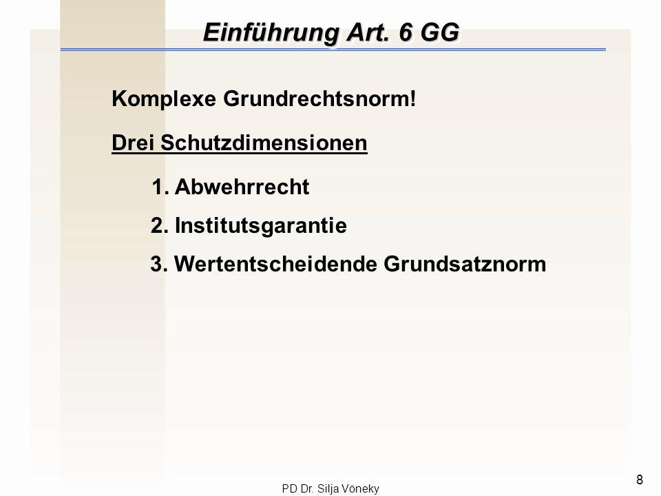 Einführung Art. 6 GG Komplexe Grundrechtsnorm! Drei Schutzdimensionen
